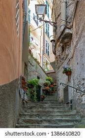 RIOMAGGIORE, LIGURIA/ITALY  - APRIL 21 : Street scene of Riomaggiore Liguria Italy on April 21, 2019