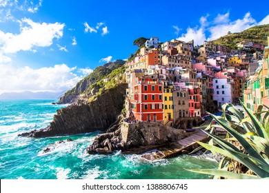 Riomaggiore,  one of the five famous coastal village in the Cinque Terre National Park, Liguria, Italy