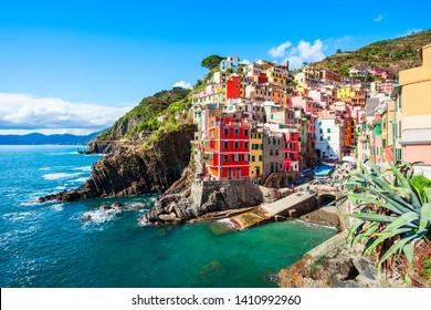 Riomaggiore is a small town in Cinque Terre national park, La Spezia province in Liguria Region, northern Italy