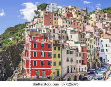 RIOMAGGIORE,CINQUE TERRE, LIGURIA, ITALY - JUNE 24, 2015. Buildings architecture in Cinque Terre  - Five lands ,at  Riomaggiore village, one of the most popular attraction in  entire world.