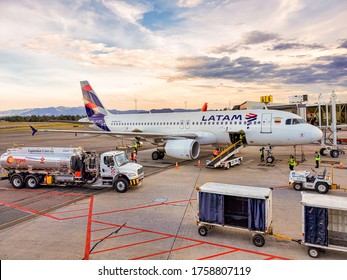 Rionegro, Colombia - September 27, 2019: Latam Colombia's Airbus A320 parked at Jose Maria Cordova Airport in Medellin, Colombia