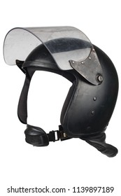riot police helmet with protective glass isolated