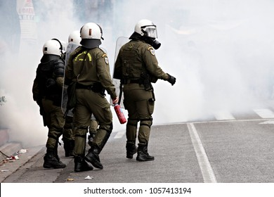 Riot police officers during a 24 hour general strike against the government's austerity politics in Athens, Greece, 4 February 2016.