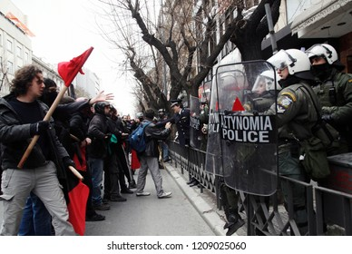 Riot police officers during a 24 hour general strike against the government's austerity politics in Thessaloniki, Greece on Feb. 23 2011