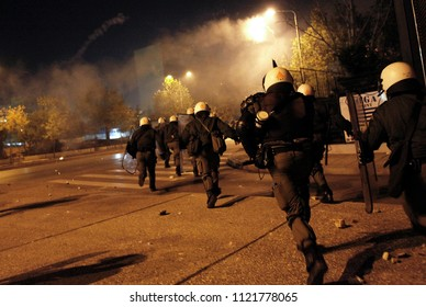 Riot police officers during clashes following a rally commemorating the 1973 students uprising against the US-backed military junta in Thessaloniki, Greece on 17 Nov. 2011