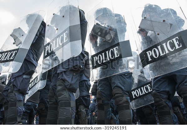 Riot police used shields and batons tactical training.