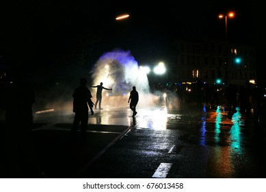 Riots on the streets during G20 summit in Hamburg, Germany
