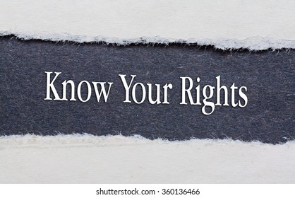 Rip Blue Paper and white background with know your rights written on
