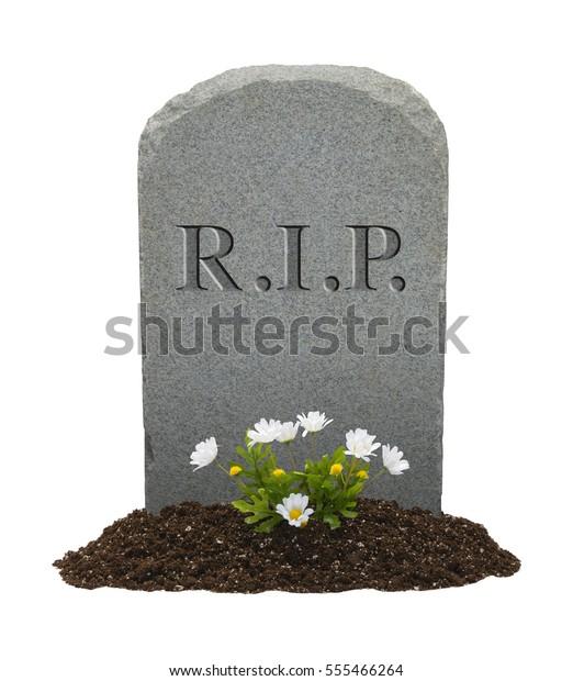 RIP Gravestone Isolated on White Background.