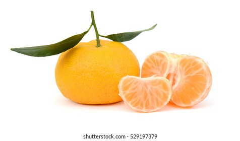 rip tangerine fruits isolated on white background