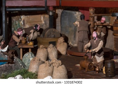 Riparbella Toscany Italy, December 2018. Miniature figurines of peasants working