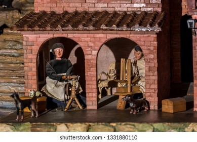 Riparbella Toscany Italy, December 2018. Miniature figurines of peasants women who knit