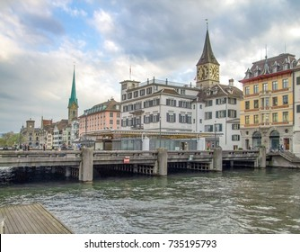 riparian scenery of Zurich, the largest city in Switzerland