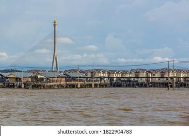 RIPAS Bridge behind Kampong Ayer water town in Bandar Seri Begawan, capital of Brunei