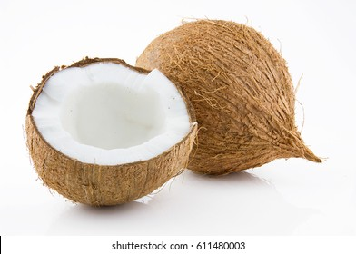 Ripe and appetizing coconut isolated on white background