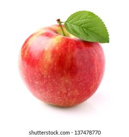 Ripe apple with leaf