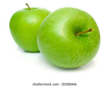 Ripe apple on a white background