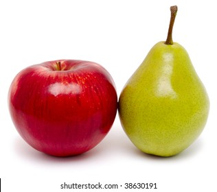 ripe apple and pear isolated on a white close-up