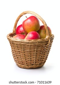 ripe apples in basket on a white background