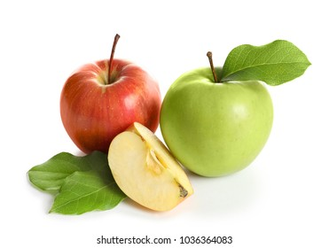 Ripe apples on white background