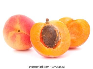 Ripe apricot fruit isolated on white background cutout
