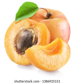 Ripe apricot fruits and apricot halves. Clipping paths for each item.