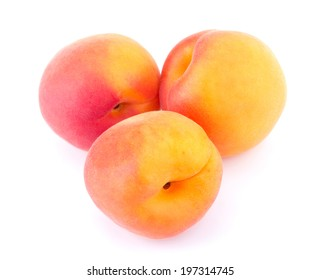 Ripe apricot isolated on white background closeup