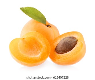 Ripe apricot isolated on white background
