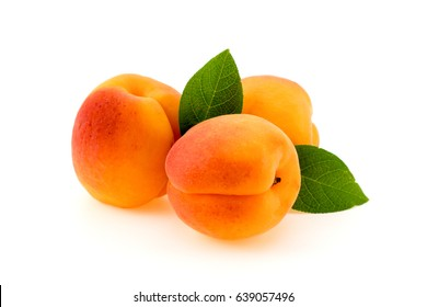 Ripe apricot with leaves isolated