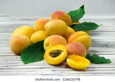 Ripe apricots close-up.