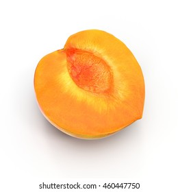 Ripe apricot's cross section on white 3D Illustration