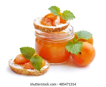 Ripe apricots. Dessert from apricots. Apricots jam .