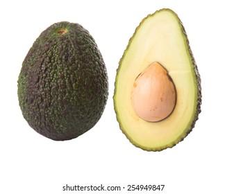 Ripe avocado fruit over white background