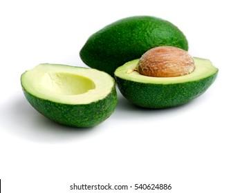 ripe avocado on white isolated background