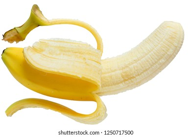Ripe banana isolated on a white background.