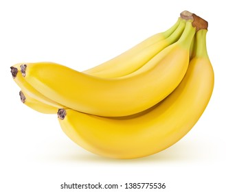 ripe banana isolated on white background with clipping path...