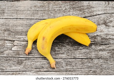 Ripe banana on a wooden table