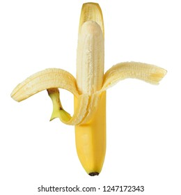 Ripe banana top view isolated on a white background.