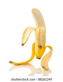 Ripe banana very similar to the person.