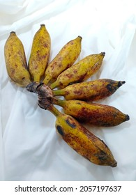 Ripe bananas (Cultivated banana) isolated on white clothes, have a medicine properties,TNF (Tumor Necrosis Factor)