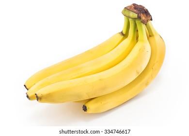 Ripe bananas isolated on white.