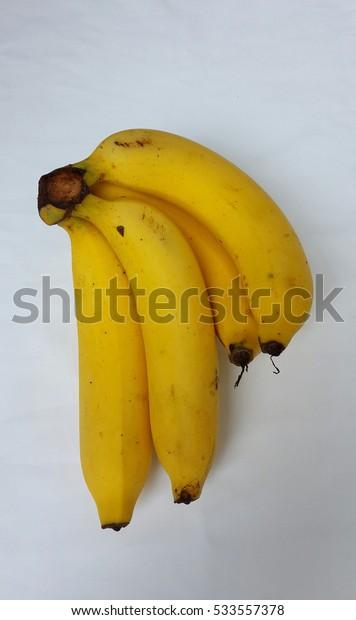 Ripe bananas  isolated on white background.