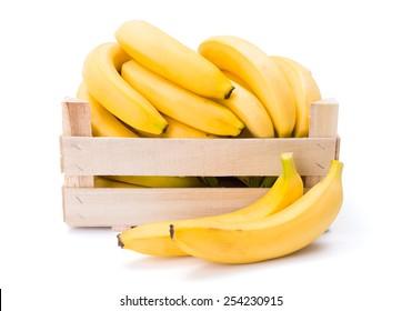 Ripe bananas in wooden box. Musa acuminata