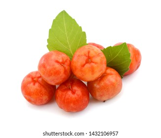 ripe barbados cherry fruit isolated on white background