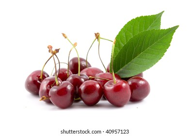 Ripe berries of a sweet cherry on a white background