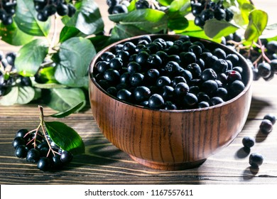 Ripe black chokeberry (Aronia melanocarpa) in wooden bowl and branch of aronia  on rustic wooden background