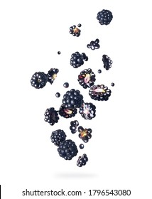 Ripe blackberries in the air close-up, isolated on a white background
