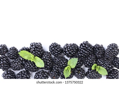 Ripe blackberries isolated on white background