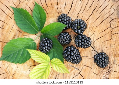 Ripe blackberries on a wooden surface. Close-up.