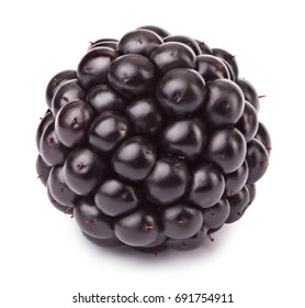 Ripe blackberry isolated on white background with clipping path. One of the best isolated blackberries you have seen.